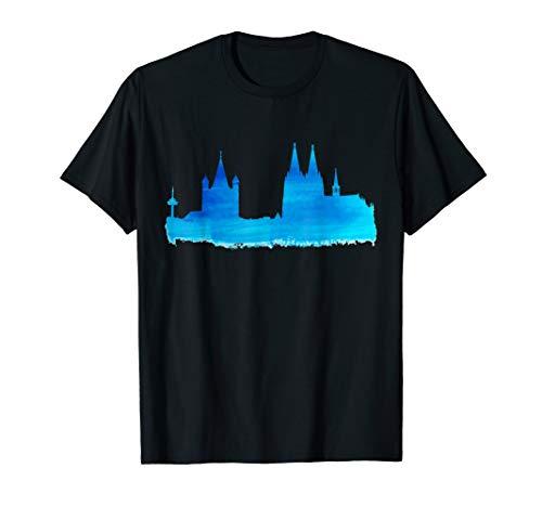 Kölner Skyline Köln T-Shirt Aquarell Malerei Kölner Dom