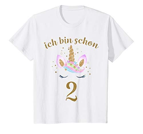 Kinder ich bin schon 2 Geburtstagsshirt Einhorn 2 Jahre Mädchen -