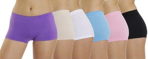 6er Pack Seamless Pants Farbmix Damen Panty Hipster Hüftpanty Mehrfarbig