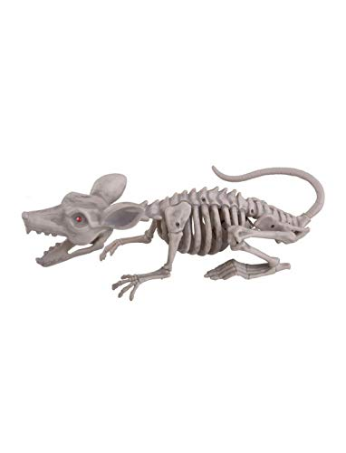 Whity Whiteman - Halloween Dekoration Deko Körper Skelett Einer Maus mit Licht Funktion, 38cm,, Skeleton of Mouse with Light, ideal für Jede Halloween Party / Feier, Weiß
