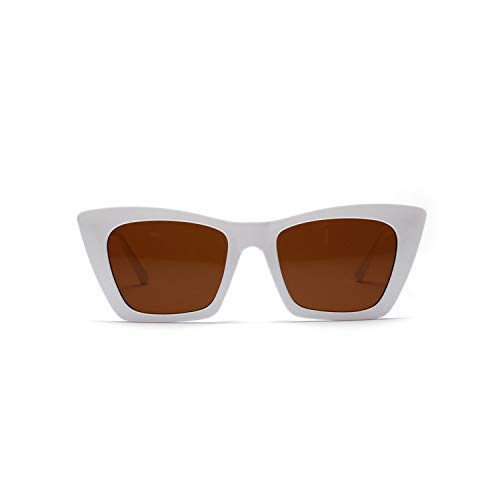 Sportbrillen, Angeln Golfbrille,Rectangle Flat Top Sunglasses Women NEW Vintage Cat Eye Sun Glasses Ladies Retro Driving Goggles Shades Sunglass UV400 White Brown