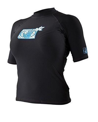 Body Glove - Damen Unterhemd T-Shirt Rash Vest für Neoprenanzug Mit Kurzem Arm - M, Schwarz -