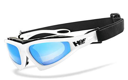 HSE SportEyes® | beschlagfrei, Winddicht, HLT® Kunststoff-Sicherheitsglas nach DIN EN 166 | Sportbrille, Radbrille, Sonnenbrille| Brillengestell: weiß, Brille: Falcon-X