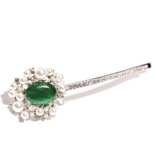 VIccoo Haarklammer, Bankett Party Pferdeschwanz Haarspange Damen Vintage Faux Smaragd Nachahmung Perle Haarnadeln Heroides Tanzen Haarspangen