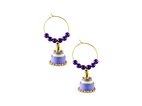 GoldGiftIdeas Handmade Purple-Yellow Quilled Earrings Jhumkas | Paper Quilling Earrings for Girls and Women  available at amazon for Rs.249