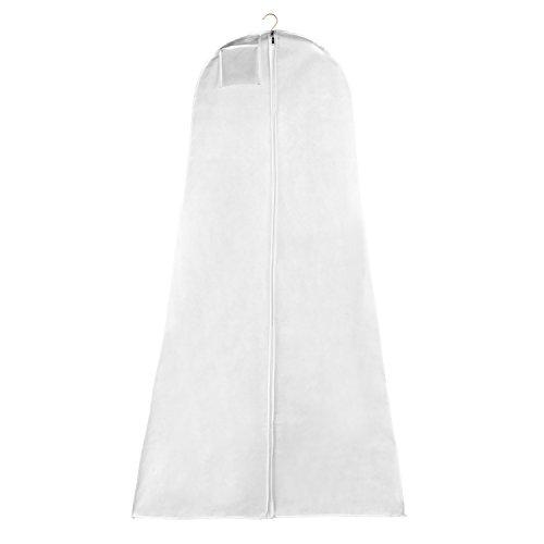 Extra Breite Kleidertasche Extra Weite Falte und 2 Bonus Deluxe Satin Kleiderbügel mit No-Slip Knöpfen zum Erhalten von Brautkleidung, Elegantes 3 Teile zur Aufbewahrung für Hochzeitskleid -