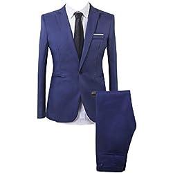 Traje Suit de 2 Piezas Manga Larga Blazers para Hombre Lago Azul S