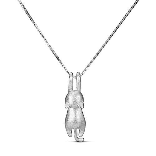 Sweetiee collana da donna ragazza in argento 925 ciondolo con gattino, platino, 400mm