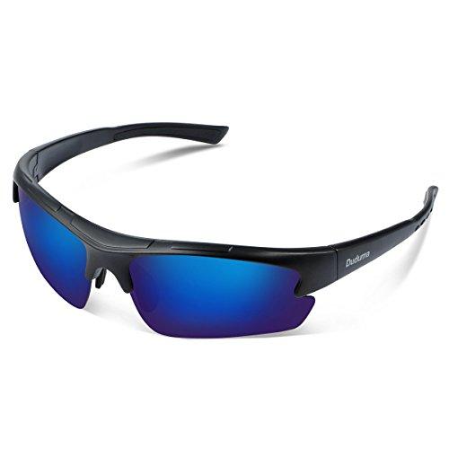 Duduma Polarisierter Sport Herren Sonnenbrille für Ski Fahren Golf Laufen Radsport Tr62 Superleichtes Rahmen Design für Herren und Damen (Schwarz Matt Rahmen mit Blau Linse)