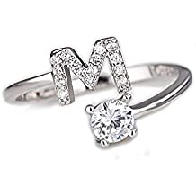 Beloved ❤️ Anello da donna con cristalli e solitario con lettera iniziale placcato rodio - misura adattabile - tutte le lettere dell'alfabeto - vestibilità da misura 9 a 20 - argento