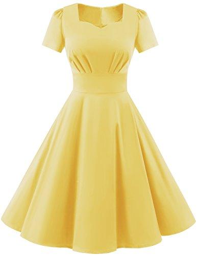 Dresstells Damen Vintage 50er Rockabilly Kurzarm Swing Kleider Partykleid Yelllow 2XL