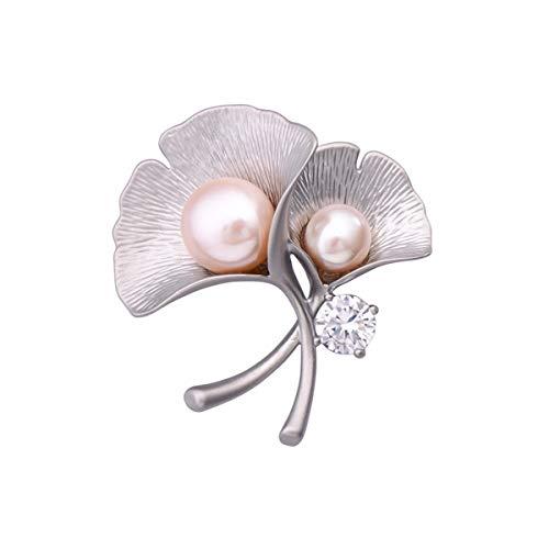 Fashion Personality Brooch Pin Rhinestone Covered Scarves Shawl Clip for Women Ladies Natürliche Perle, Ginkgo Leaf kleine Brosche, Zirkon Corsage, Mantel Pin, Mantel Abzeichen, Schal Schnalle