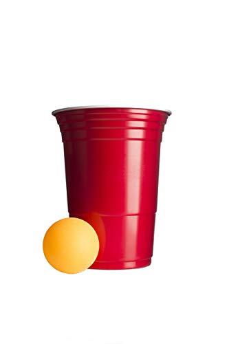 Beer Pong Becher im Set   100 rote Becher inkl. 6 Bälle   die Extra Starke American Cup's   Partybecher  16oz 473ml   Camping   Wiederverwendbar   Plastikbecher