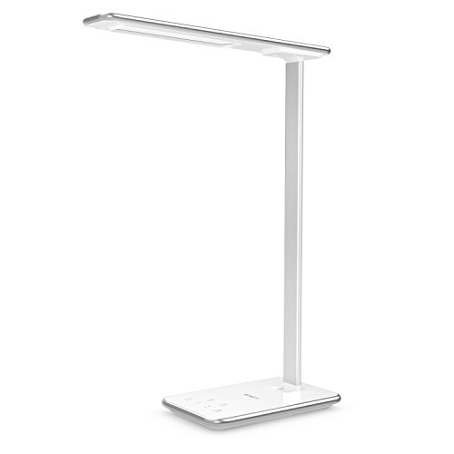 AUKEY 10W Schreibtischlampe Dimmbar LED Schreibtischleuchte, Aluminium Arm, mit Mini Nachtlicht und USB Anschluss zum Aufladen, Augenschutz, 5 Helligkeitsstufen, 3 Modi, 60 Minuten Timer (LT-T7 Weiß)