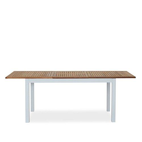Esstisch ausziehbar Holz Metall Platte Teak braun Gestell Aluminium weiß Gartentisch - San Roma