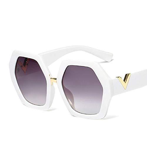 LXXSSRA Sonnenbrille Neueste Übergroße Sechseck Sonnenbrille Frauen Markendesigner Metall Dekoration Platz Sonnenbrille Männer Brillen Uv400 E131 Schwarz Grau