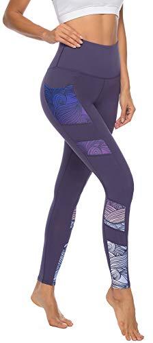 Persit Sporthose Damen, Yoga Leggings Laufhose Yogahose Sport Leggins Tights für Damen Violett-L