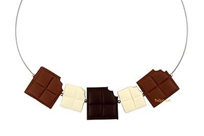 Lady-Charms - Fait-main - Collier / Tour de Cou Gourmand Carrés de Chocolat