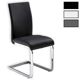 IDIMEX Lot de 4 chaises de Salle à Manger Leticia piètement chromé et revêtement synthétique Gris