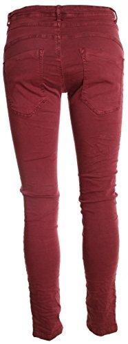 "Jeans pour femme coupe boyfriend aladin harem pantalon chino baggy taille basse boyfriendjeans boyfriendhose batik look ""destroyed"" Weinrot (Modell 2)"