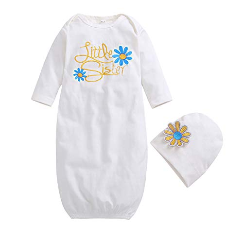 SCFEL Little Sister Gown Neugeborenes Baby Floral Nachthemd mit Hut Baby nach Hause Outfits Schlafsack -