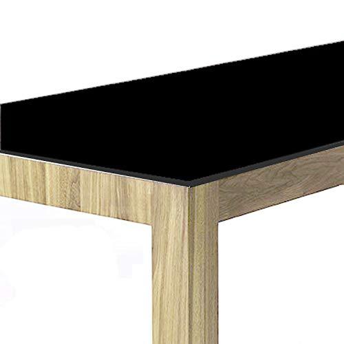 Schwarze PVC Folie Tischdecke ca. 1mm dick Breite und Länge wählbar - Eckig 90 x 160 cm [+ Toleranz] abwaschbare Folie Schutztischdecke - Made in Germany
