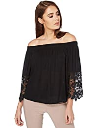 84c421790f3ca3 Roman Originals Women s Lace Frill Sleeves Bardot Top - Ladies Off Shoulder  Top for Casual Everyday