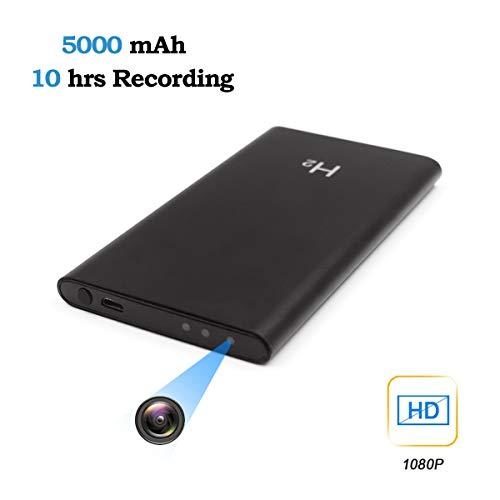 Jiyibidi 1080P 5000mAh Tragbare Versteckte Mini Powerbank Kamera Kleine Überwachungskamera, Compact Mikro Nanny Cam Sicherheit Kamera für Innen und Aussen