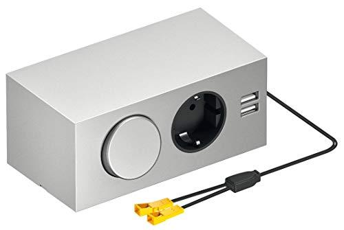 Silber Bad Möbel (Steckdosen-Element Energiebox Spiegelschrank mit LOOX 12 V Netzteil + 2-fach USB-Ladestation + Schuko-Steckdose und Schalter | Anbausystem 230 V | Kunststoff silber | 1 Stück - Möbel-Steckdose BAD)