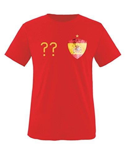 Comedy Shirts - Spanien Trikot - Wappen: Klein - Wunsch - Kinder T-Shirt - Rot / Gelb Gr. 122-128 (V-neck Spanien Fußball-herren)
