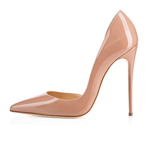 EDEFS Femmes Artisan Fashion Escarpins Classiques Pointus Des Couleurs Chaussures à talon haut 120MM Bleu Beige