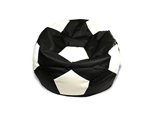 kissenwelt.de *Weihnachts SALE* Sitzsack Fußball S (Ø 70cm) - Kunstleder - schwarz/weiß - Made in Germany