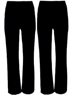 Señoras Stretch pantalones Pack de 2Bootleg elástico acanalado pantalón negro tamaño 8–26