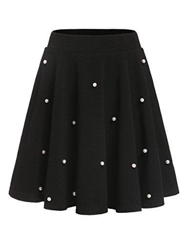ROMWE Damen Mädchen Perlen-Details Elastische Taillenband Retro Elegant Falten Rock Schwarz M