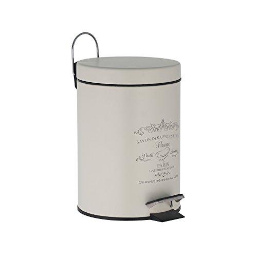 Treteimer 3 Liter in altweiß Mülleimer als Abfalleimer, Kosmetikeimer für Badezimmer + Küche aus Metall mit Frontdruck - Badeimer mit Deckel
