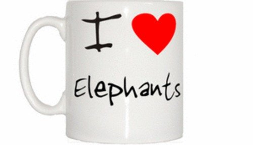TeeTreeDesigns Me Encanta corazón Elefantes Taza