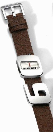 Miss Sixty Tommy Brown Leather Strap '60' Stainless Steel Case Black Dial And Red Miss Sixty Logo Within 'O' – WM2J8002