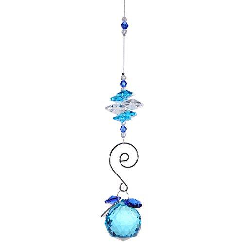 H&D Deko Kristall Sonnenfänger Hängend Blau Glas Kugelprisma 30mm