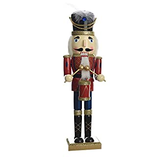 TRADITIONAL Wooden CHRISTMAS NUTCRACKER SOLDIER DRUMMER Decoration - RED, BLUE & GOLD - 38cm