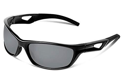 JFSKD Sportreitspiegel für Damen und Herren, Sonnenbrillen, Windschutz für Outdoor-Sportarten und insektensichere Brillen,Black/Gray