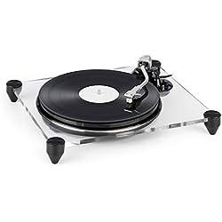 AUNA TT-Pure Edition - Platine Vinyle, Châssis en Verre Acrylique, Entraînement par Courroie,33 1/3 et 45 t/MN, Auto-Stop, Pitch Control, Enregistre la Musique des vinyles sur PC, Transparent