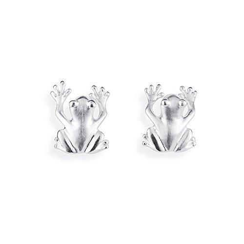 Drachenfels Luxus Ohrstecker Set aus der Kollektion Froschkönig | Ohrstecker Silber mattiert | Eleganter Designerschmuck veredelt | Froschohrringe für Damen