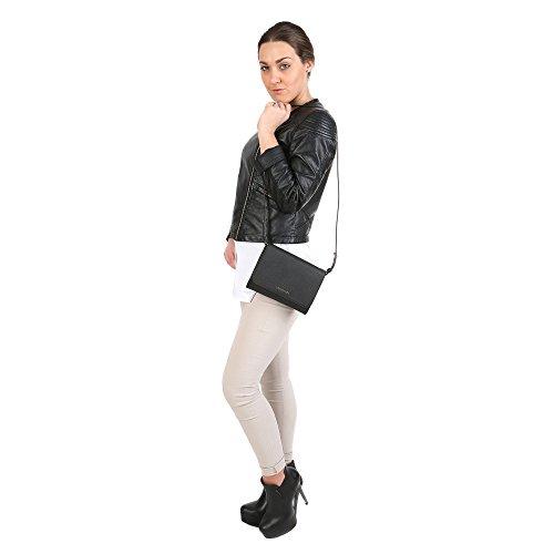 Trussardi Femme Cross-Body embrayage en dollars, en cuir de veau authentique 20x16x5 Cm Mod. 76B113M Noir