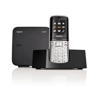 Gigaset SL350 Schnurlostelefon (TFT-Farbdisplay, Dect-Telefon, Freisprechen, Einfaches Telefon) metall/pianoschwarz