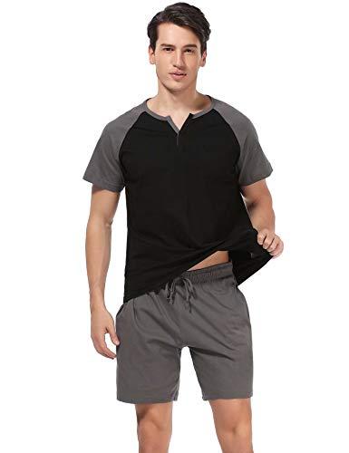 Aiboria pigiama da uomo in cotone 100% a due pezzi primavera estate pantaloncini maglietta a manica corta casual