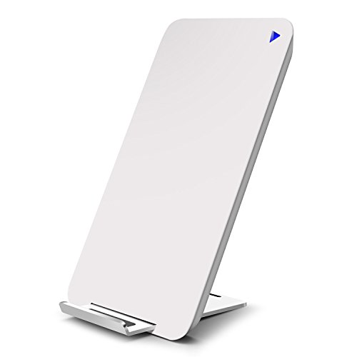 Fast Wireless Charger, mobfun 10W Quick Wireless Charger with Hidden Stand,Fast Type C Port Input,Qi Wireless Charging Pad for iPhone X 8 8 plus, Samsung S8/S8 plus/S7/S7 Edge/S6, Nexus 7/6/5 and All Qi-Enabled Devices (White) (Support Coil)
