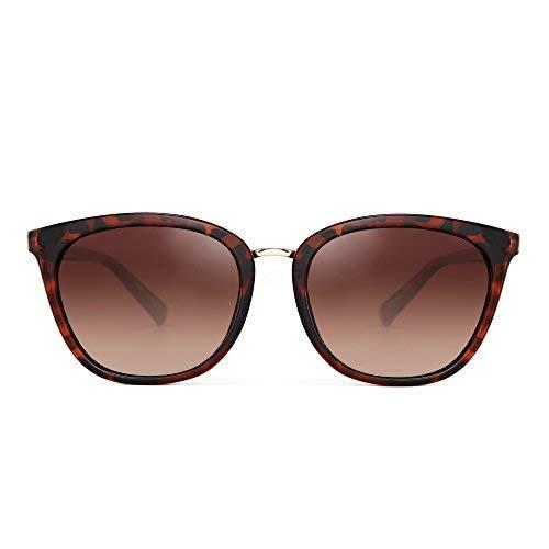 JIM HALO Polarisiert Gradient Klassisch Sonnenbrille Retro Katzen Quadrat Auge Brille Damen Herren(Braun/Gradient Braun)