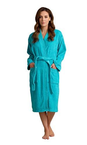 Soft Touch Linen Deluxe Bademantel für Damen, Frottee, Dicke türkische Baumwolle - Blau - Medium