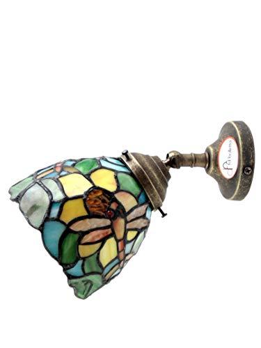Applique Messing brüniert,appliques Wandleuchte mit Glas im Tiffany-Stil an5.MIsure:Protrusion 21cm,Ø 13cm Glas,Ø 8cm Fuß.Die Abmessungen sind mit Glas. Lampenfassungen Edison E14 - Messing-tiffany-wandleuchte