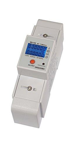 B+G E-Tech DRS255B - LCD digitaler Wechselstromzähler Stromzähler mit Tageszähler 5(50) A für Hutschiene mit S0 Schnittstelle 1000imp./kWh -